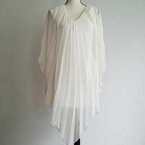 Asos petite pleated white and sheer dress